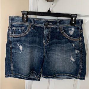 Women's Silver Suki Jean Shorts - Size 29